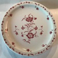 "3- Syracuse China Restaurant Ware Plates-Maroon Flowers UEC 9"" Unnamed Pattern"