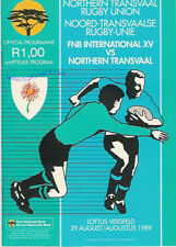 Transvaal settentrionale V FNB internazionali (mondiale) XV 1989 RUGBY PROG, S Africa CENT