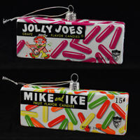 RARE Jolly Joes AND Mike & Ike Christmas Glass Ornament Set (Just Born Candy)