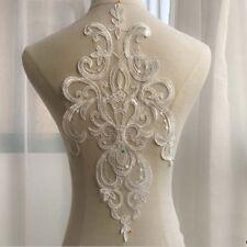 1Pcs Ivory Embroidery Lace Applique Patch DIY Wedding Dress Sewing Applique