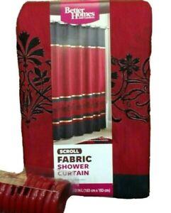"Burgundy Black Gold Fabric Shower Curtain: Wide Stripe Flower Design, 70"" x 72"""