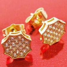 18K YELLOW G/F GOLD DIAMOND SIMULATED RETRO STUD EARRINGS FS3AN384