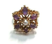 Vintage Pearl and Amethyst in Flower Shape 14k Yellow Gold Ring