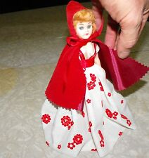 "1960'S Hard Plastic Doll Red Riding Hood 8"" Blue Bonnet Margarine Storybook"