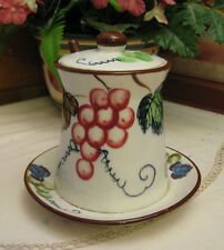 Vintage ESD Japan Pottery Jam Pot Hand Painted Grapes & Leaves With Spoon
