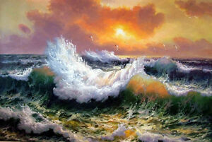 """Dream-art Oil painting seascape Huge wave in the sunset with seabirds canvas 36"""""""