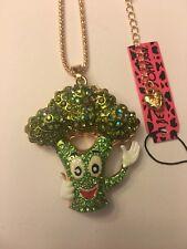 BETSEY JOHNSON GREEN Rhinestone Enamel Tree  Sweater Chain Necklace-BJ37929
