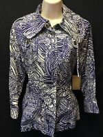 New! Coldwater Creek Women's Size 4 Purple Abstract Print 3/4 Sleeve Jacket $99