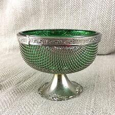 Vintage bowl silver plate & Verre Vert Maille écrou Candy bonbon friandise Brama