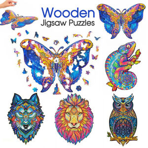 Wooden Jigsaw Puzzles Unique Animal Shape Adult Kid Child Toy Gift Home Decor AU