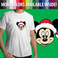 Mickey Mouse Santa Hat Disney Christmas Holiday Fun Unisex Mens Tee Crew T-Shirt