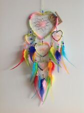 Nylon String Wrap Rainbow Triple Heart Dream Catcher 50cm Total Length