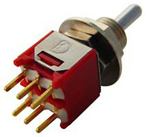 2MD6T1B5M2RE -  Toggle Switch, On-On-On, DPDT, 2M Series, Through Hole, 100 mA