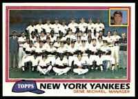1981 Topps Baseball Set Break Team Checklist New York Yankees #670