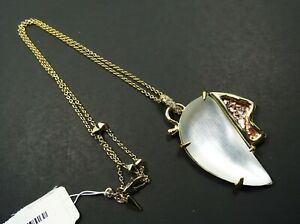 ALEXIS BITTAR $175 Yellow Gold Plated Pearly White Lucite & Crystals Necklace