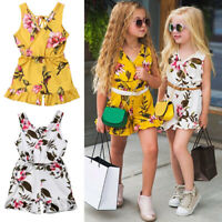 US Kids Baby Girls Floral Jumpsuit Romper Bodysuit Clothes Outfits Set Playsuit