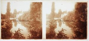 FRANCE Étang Reflets dans l'eau Photo Plaque de verre Stereo Vintage c1910