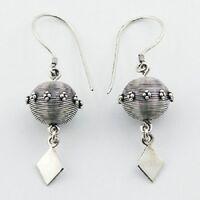 Handmade earrings 925 silver Balinese Silver Wirework 11mm Spheres 42mm drop