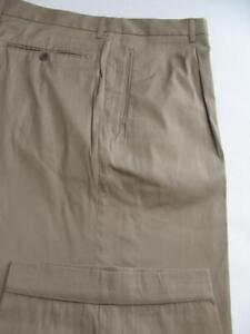 (T126) MINT HUGO BOSS LIGHT SILKY COTTON BLEND KHAKI DRESS PANTS - 38 X 31.5