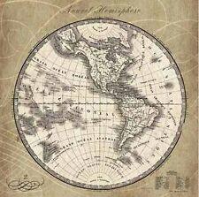 Sue Schlabach: French World Map III Fertig-Bild 60x60 Wandbild Weltkarte