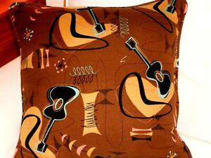 Atomic Hawaiian 100% Cotton Barkcloth Fabric Pillow SLIPCOVER ~Jetson-Cocoa~