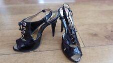 Moda In Pelle Patent Black Peeptoe sling back heels lace Shoes 39 6uk sexy