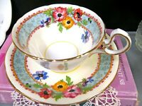 AYNSLEY tea cup and saucer anemone  floral pattern teacup footed doris shape