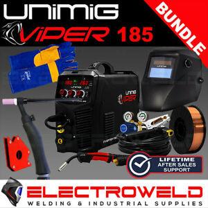 UNIMIG VIPER 185 Welder, Helmet, Gloves, 5kg Wire, Magnets, 17V Tig & Mig Torch