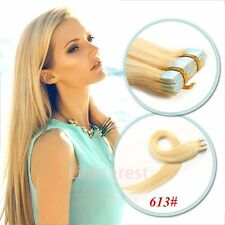 AAAAA 100% Remy Human Hair Extensions Seamless Tape In skin Weft Best US QN44