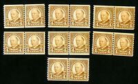 US Stamps # 687 F-VF Lot of 7 Line Pairs OG NH Scott Value $154.00