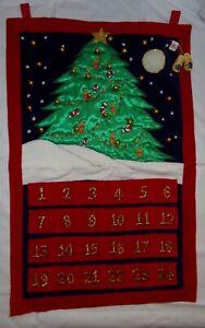 Christmas Advent Calendar w/ Wood Dutch Shoe Marker Pocket Fabric Wall Hanging