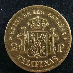 2 pesos 1868 Philippines Spanish colonies KM#143 gold Pilipinas Filipinas