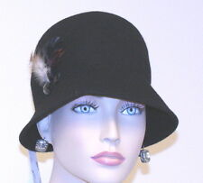 NWT LADIES HAT CAPELLI NY BLACK WOOL CLOCHE FEATHERS PLASTIC JEWEL ACCENTS GREAT