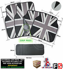 5 PIECE UNIVERSAL CAR FLOOR MATS SET RUBBER BRITISH FLAG MONOCHROME-Jeep