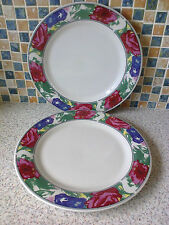 2 X DINNER PLATES PRETTY FLORAL BORDER RED BLUE & PINK