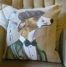 OLD SCHOOL  RALPH LAUREN GOLFING WHIPPET GREYHOUND TAPESTRY CUSHION COVER ONL