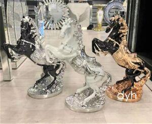 XXL Italian Luxury Horse home Ornament WHITE GOLD SILVER BLACK Romany Ceramic
