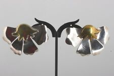 Earrings Mexico Fine 925 6616B Sterling Silver Tm-72 Goldtone Accent