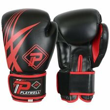 Playwell Tribal Boxing Gloves Black Sparring Kick Muay Thai Martial Arts MMA