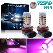 2Pcs 92SMD Pink Purple H11 H8 H9 LED Projector Bulbs Car Driving Fog Light Lamp