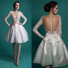 Vintage Long Sleeves V Neck Lace Short Beach Wedding Dress Organza Bridal Gowns