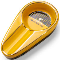 1Pc COHIBA Classic Yellow Ceramic Antislip Pocket Cigar Cigarette Ashtray Holder
