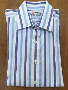 Turnbull & Asser, Blue & White Stripe, Double Cuff Shirt - Size: 16 Collar