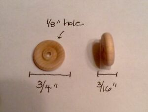 """8 Pieces 3/4"""" Diameter X 3/16"""" Wood Wheel Unfinished Miniatures Hole Size 1/8"""""""