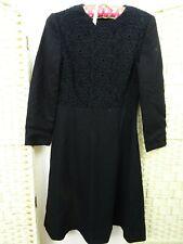 VINTAGE JAPANESE wool blend black gothic crochet/lace front skater dress S/XS