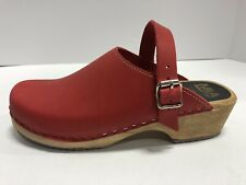 Mia Women's Alma Red Leather Clogs Size 10M Block Heel, Buckle, Casual Shoes
