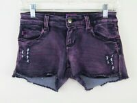 Tripp NYC Daang Goodman Distressed Studs Purple Acid Wash Shorts Juniors 3