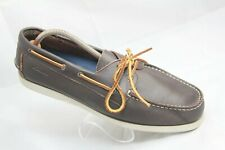 Clarks Mens Size 12M Brown Leather Moc Toe Boat Deck Dock Casual Loafers Shoes