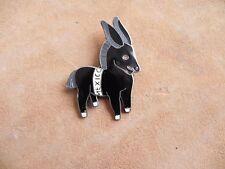 Brooch by Margot de Taxco Mexico Black Enamel & Sterling Silver Donkey Pin