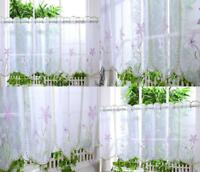 "Voile Cafe Net Curtain Floral Panel ~ D4 VANESSA ~ 12"" & 18"" * 24"" Drop"